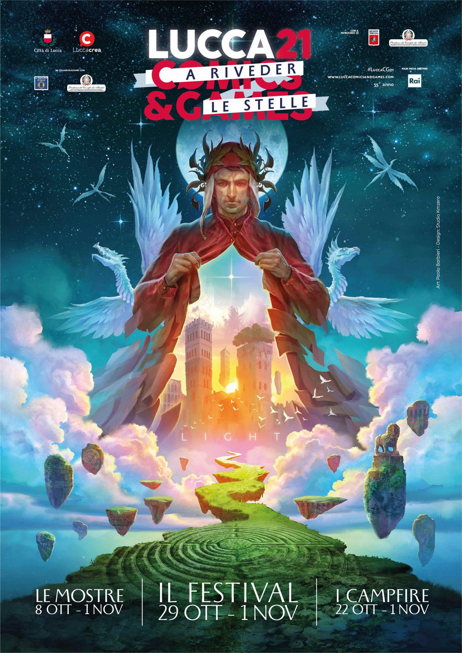 Il poster ufficiale di Lucca Comics & Games 2021 illustrato da Paolo Barbieri